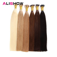 Alishow Remy Hair I Tip Keratin Human Hair Extensions 16 24 1g/s 100g Silky Straight Hair On Capsule Fusion Hair