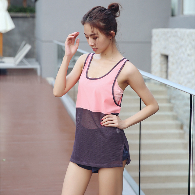 88c99f7d66a405 2018 Sexy Pink Mesh Patchwork Women Tank Tops Female Dry Quick Loose  Fitness Vest Singlet for Exercise Women s Workout T-Shirts