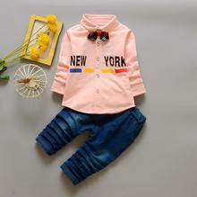 0-4years 2017 New Baby Boy Clothes Children Kids Toddler boys Clothing Set Spring Autumn fashion letters T-shirt + jeans pants