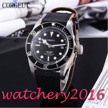 Casual Corgeut 41mm black dial SS case Luminous Deployment sapphire glass Black Bezel miyota Automatic movement Men's Watch