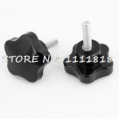 2 x Plastic 7mm Dia Thread Stem Nonslip Fluted Knob Grip Black gold tone metal 13 32 threaded plastic fluted knob black