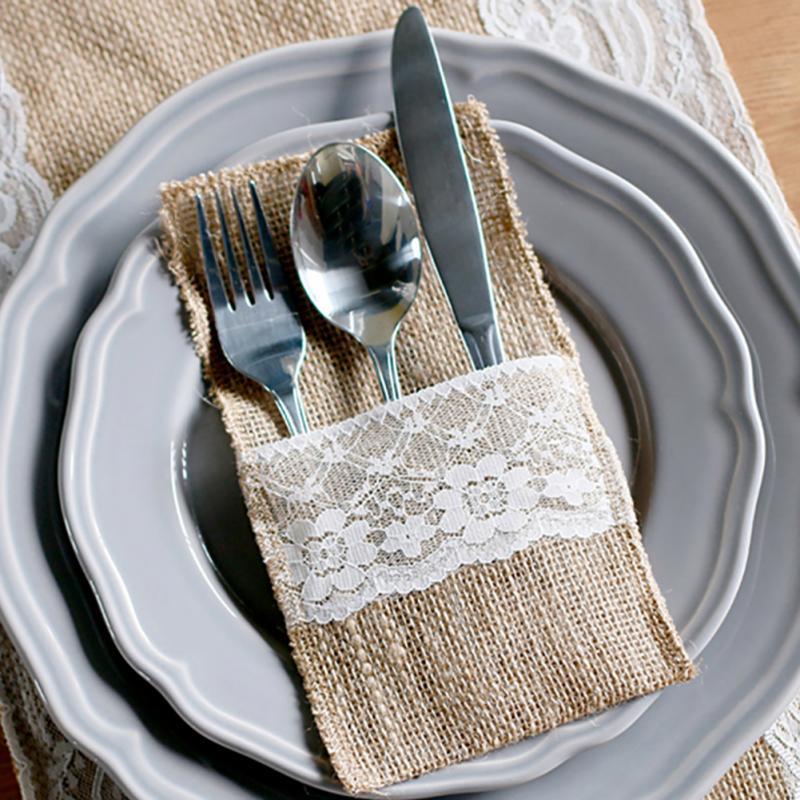 Charming 10pcs Vintage Jute Burlap Lace Tableware Pouch Packaging Fork U0026 Knife  Burlap Holder Cutlery Pocket 4