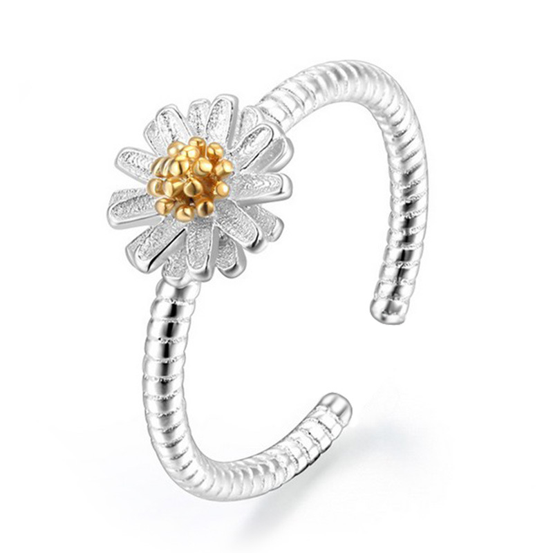 Gerbera daisies Ms. Silver fashion ring opening small fresh sunflowers high quality jewelry manufacturers, wholesale