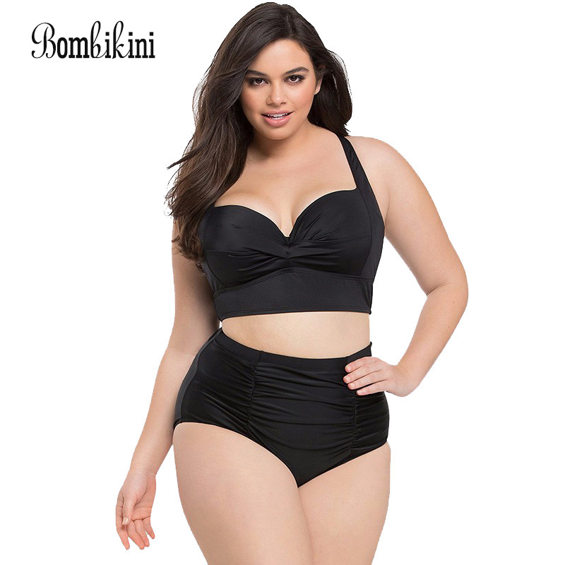 Large Size Bikinis Retro Swimsuit High Waist Swimwear Women Push Up Biquini Female Bathing Suit Lady Plus Size Swimming Suit vintage bikinis retro plus size swimwear women high waist swimsuit print beachwear skirt bathing suits monokini tankini biquini
