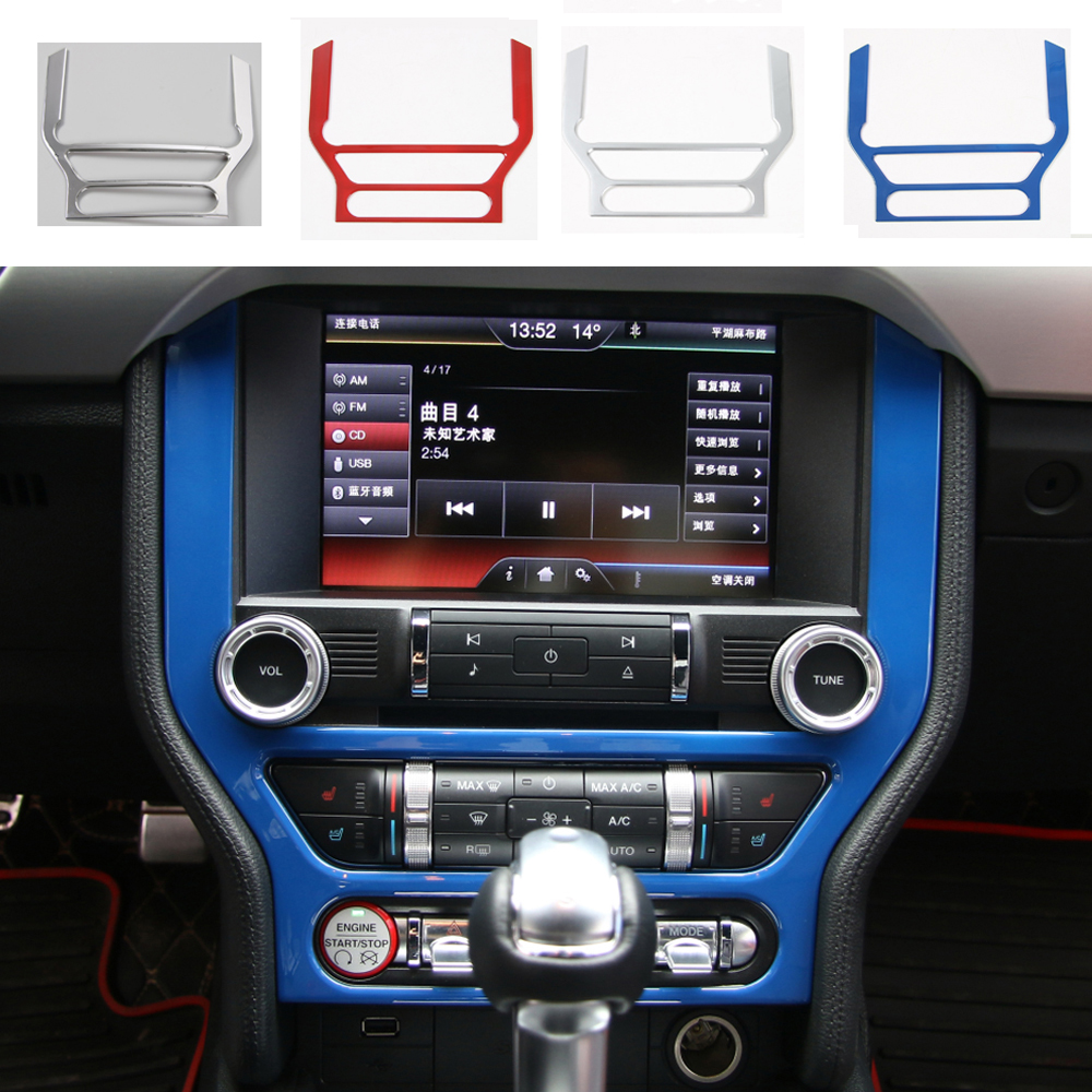 4 Colors ABS Car Radio Dashboard GPS Frame Panel Cover Navigation Frame Cover Trim Stickers For Ford Mustang 15 2016 Car Styling 2015 hyundai tucson abs electroplating taillight frame decorative trim trim car styling