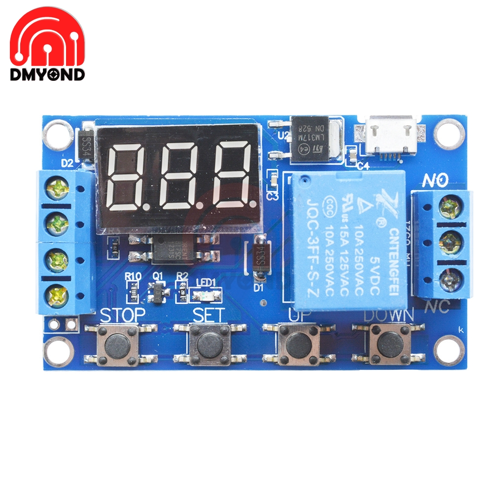 DC 5V Digital LED Display Micro USB Trigger Automation Delay Cycle Timer Control Switch Relay Module Board Controller
