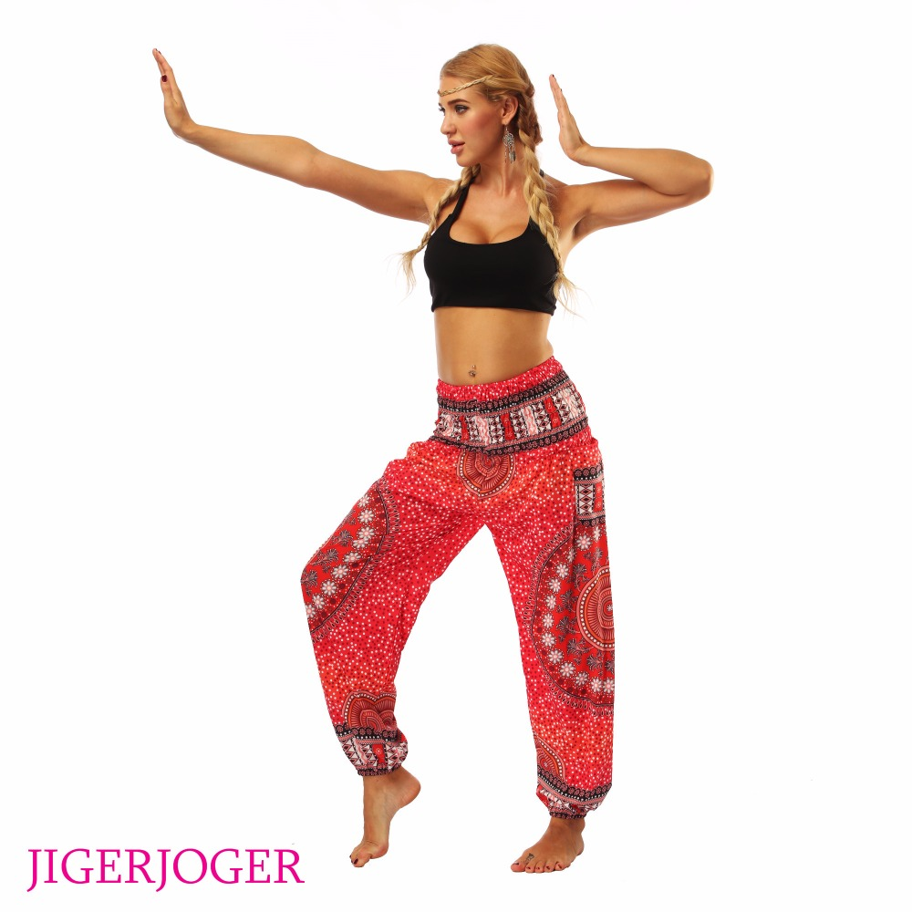 JIGERJOGER Red mandala circle galaxy floral Printed stretchy High rise  Straight Loose leggings lounge Bloomers pocket fc8017c12c88