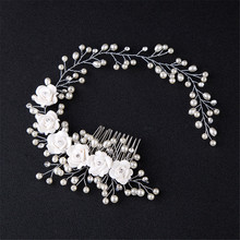 Elegant Lady Wedding Hair Combs Handmade Pearl Floral Bride Headpiece Accessories