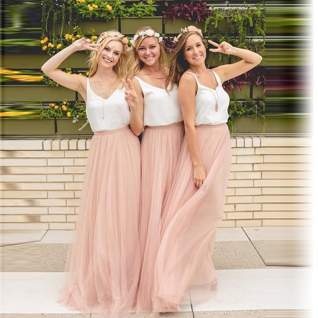Динамический Розовый Персик Длинные Тюль Юбки Для Невесты Для Свадьбы партия Молния Стиль Юбки Для Женщин На Заказ Высокой качество