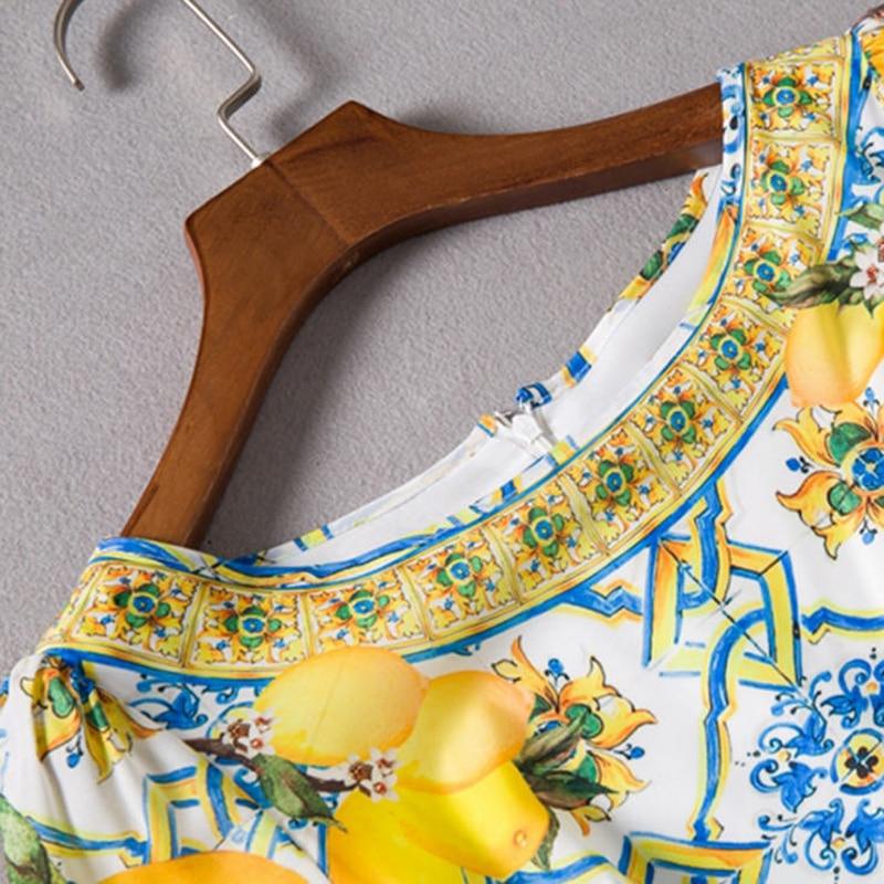 Robe À Piste Cm 120 Printemps 150 Porcelaine Robes 2018 Citron 150cm Qualité Maxi B213 Féminine Manches 120cm Femmes Imprimé Haute Longues SqIzPw