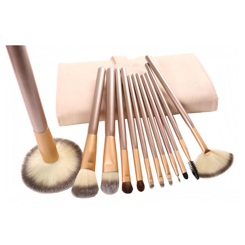 Professional 12Pcs Makeup Brush Sets Tools Cosmetic Brush Foundation Eyeshadow Eyeliner Lip Brush Make Up Tool Beige hand bag professional bullet style cosmetic make up foundation soft brush golden white