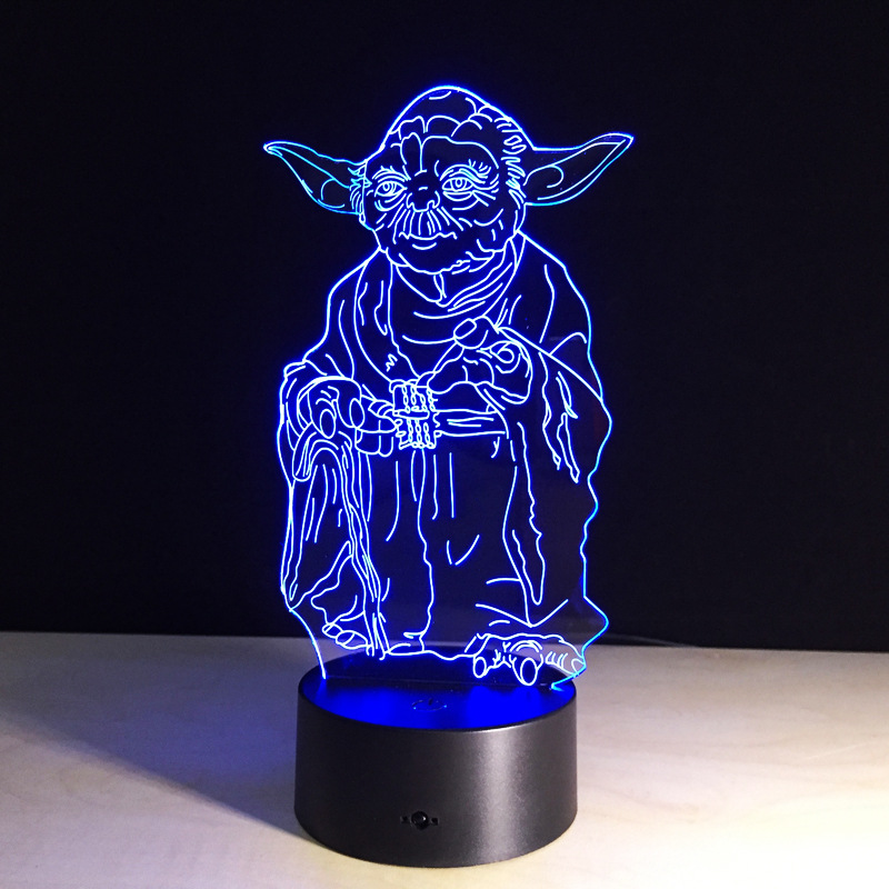 Star Wars Yoda lamp 7 color changing visual illusion LED light deco fashion Novelty toy action figure kids birthday giftStar Wars Yoda lamp 7 color changing visual illusion LED light deco fashion Novelty toy action figure kids birthday gift