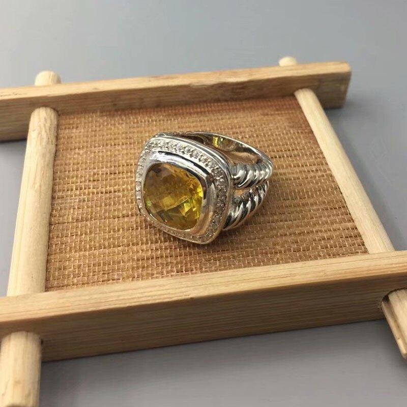Bijoux Design femme 925 argent Sterling 11 MM anneau Citrine bijoux fins anneau de mode cadeaux de noël cadeaux de fête des mères