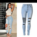 Women Fashion Style Personality Ripped Hole Slim Full-Length Stretch High-Waist Ripped Knee Skinny Women Pencil Fashion Jeans