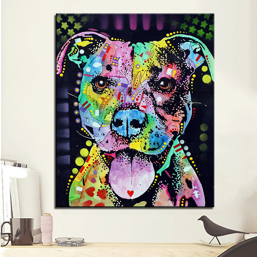 US $2 99 50% OFF|Large size Print Oil Painting Wall painting cherish the  pitbull Home Decorative Wall Art Picture Living Room paintng No Frame-in