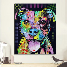Large size Print Oil Painting Wall painting cherish the pitbull Home Decorative Wall Art Picture Living Room paintng No Frame(China)