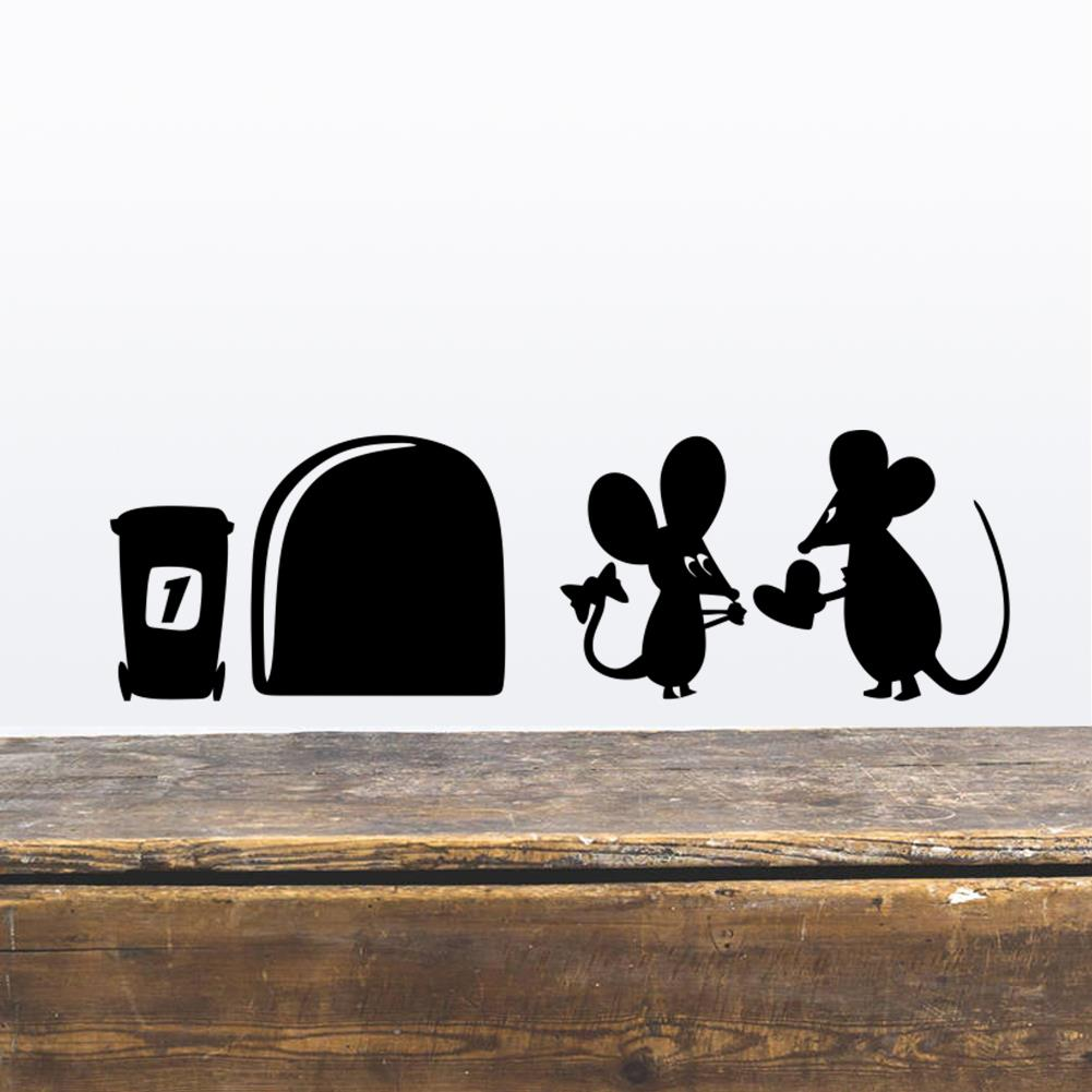 Funny Love Mouse Hole Wall Stickers For Kids Rooms Wall