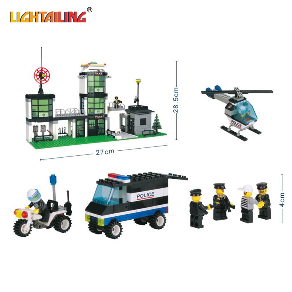 ФОТО LIGHTAILING Brand City Hotel De Police 3D Construction building block Bricks Toy compatible with lego Educational Toys for Kids