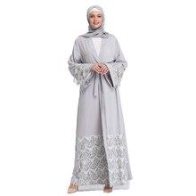 Arab Women Attire Abaya Muslim Sequins Cardigan Kaftan Dresses with Scarf
