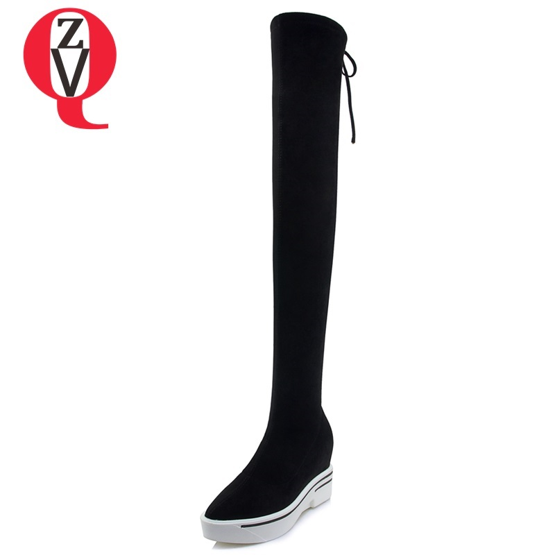 ZVQ 2018 new popular concise faux suede women shoes super high wedges platform lace-up round toe black winter over knee boots zvq 2018 new popular kid suede embroider women shoes super high square heel pointed toe zip black winter warm over knee boots