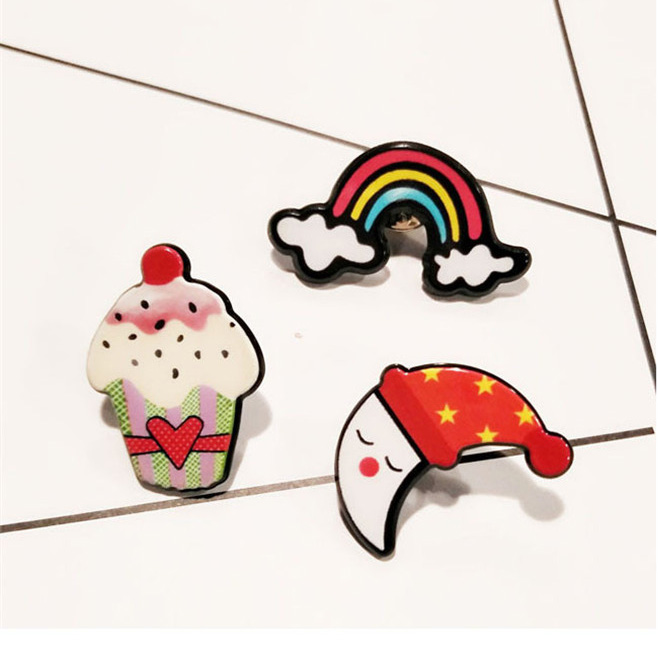 SHUANGR 3pcs/set Cute little Icecream rainbow Brooch Button Pins Denim Jacket Pin Badge Cartoon Jewelry Gift for Kid