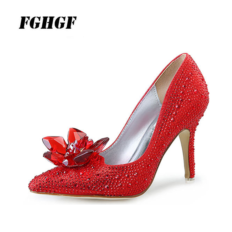 Wedding shoe diamond crystal shoe heel pointed red bride shoes black fashion bridesmaid silver single shoe heels champagne 34 43