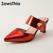 8bfe40c8b ZawsThia 2019 patent PU couro mulher sandálias de salto alto do dedo do pé  apontado sexy mulheres slides vermelho ouro silber fe.