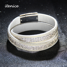 Itenice Brand 2017 New Fashion Fine Jewelry Trendy Long Leather Bracelets & bangles Metal Buckle Crystal For Women
