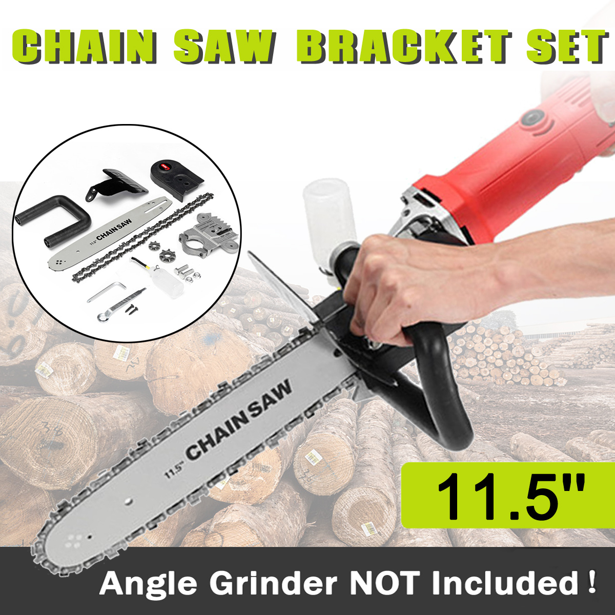 Drillpro Upgrade 11.5 Inch Chainsaw Bracket Changed 100 125 150 Angle Grinder M10/M14 Into Chain Saw Woodworking Tool