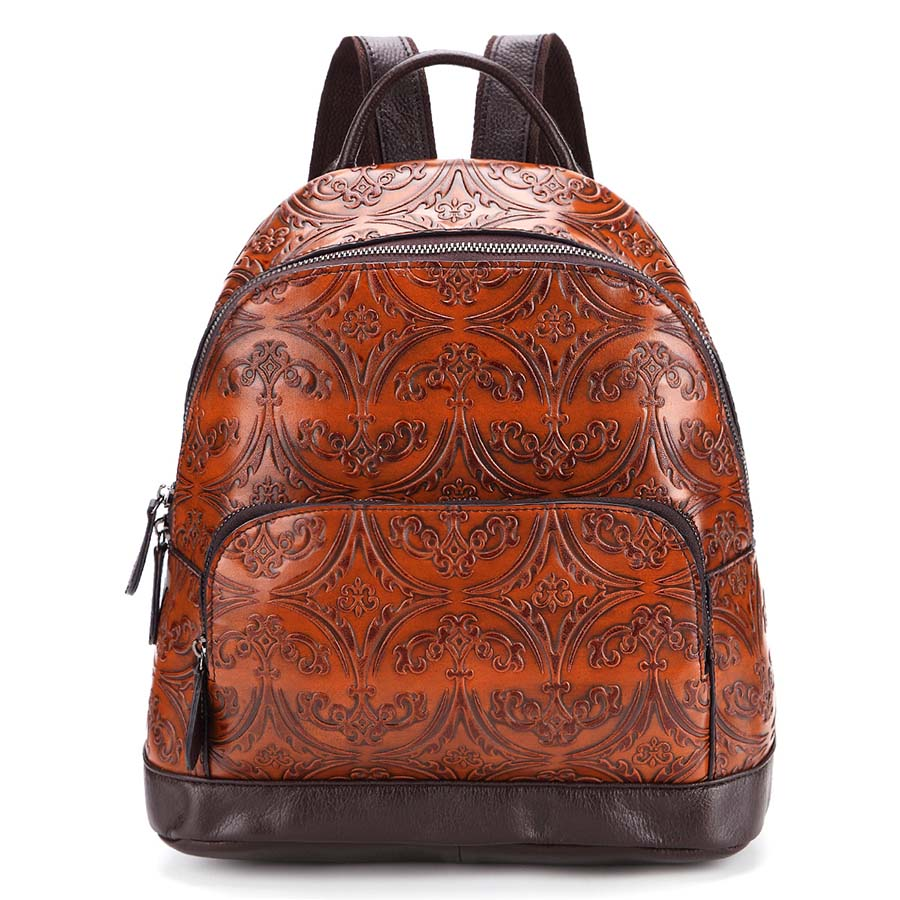 Fashion Women Genuine Leather Backpack Female Floral Bag Ladies Softback Embossing Backpacks Mochilas Mujer School Bag 1533