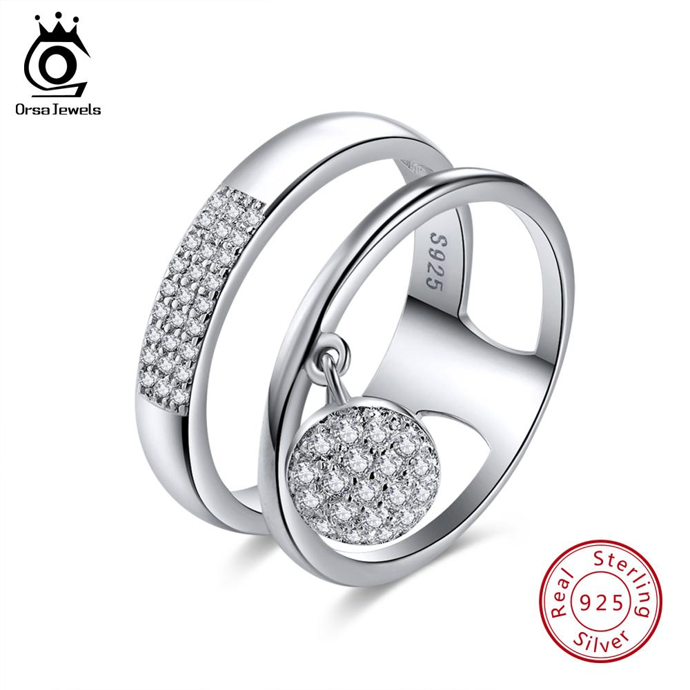 ORSA JEWELS Real 925 Sterling Silver Rings For Women AAA Shiny Cubic Zircon Dangle Finger Rings Sets Female Party Jewelry OSR54