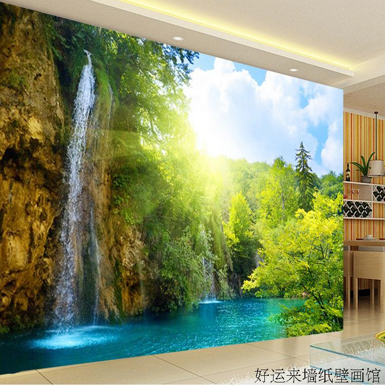 Custom 3d mural Large TV wall mural beautiful scenery wallpaper 3D landscape living room wallpaper mural free shipping  32mm 33 meters  0 06mm