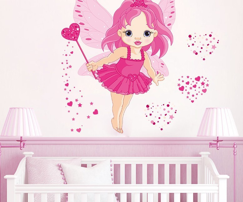 Free shipping 3d lovely angel girl art wall decals wall for Angel wall mural