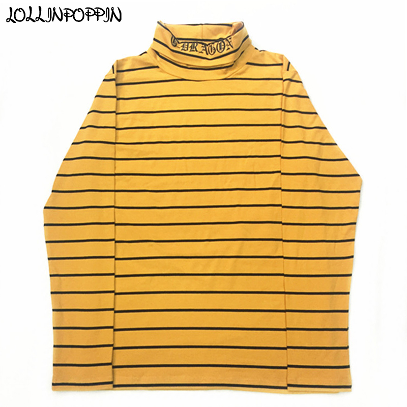 KPOP Korean Fashion Yellow Stripe Long Sleeve T-Shirt Turtleneck GD Embroidery Letters Striped Pattern Mens Long Sleeved Tshirts