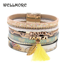 WELLMORE leather bracelet yellow flowers women charm bracelets magnet buckle Friendship bracelet Bohemian bracelets&bangles