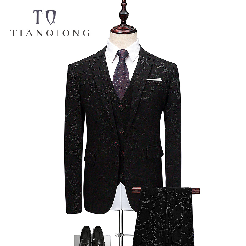 TIAN QIONG Mens Wedding Suits Groom Tuxedo Jacket Floral Print Classic Men Suits Blazer With Pants Brand Clothing 3pcs QT343