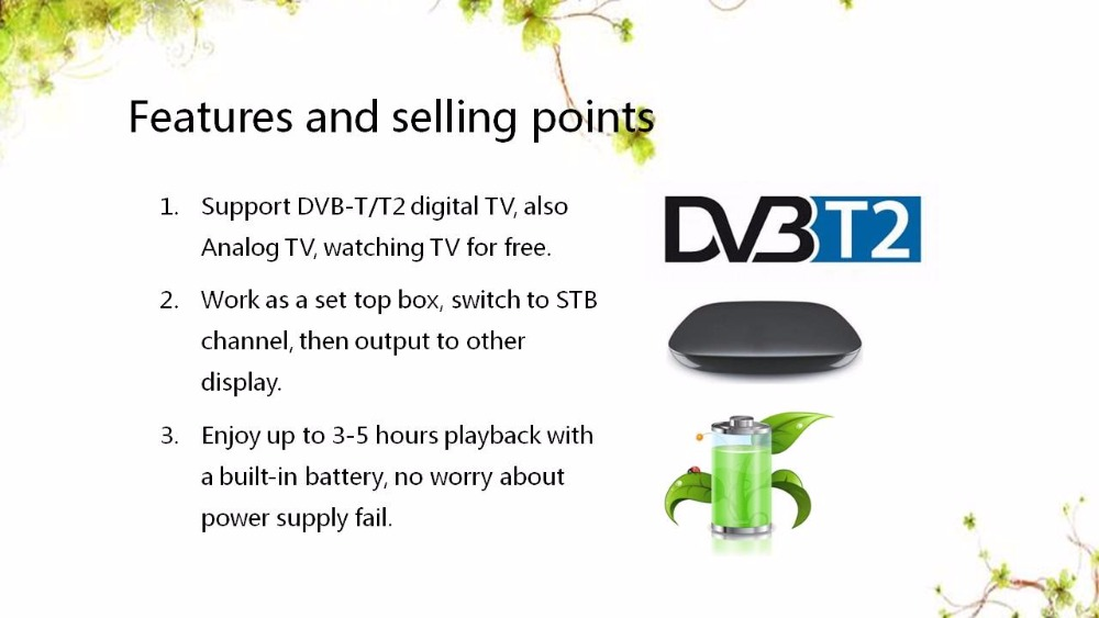 2017 New Product 12V LED Portable Digital TV MPEG4 Battery Powered Television DVB-T/T2 7 inch portable led tv television dvb t mpeg4 pvr black