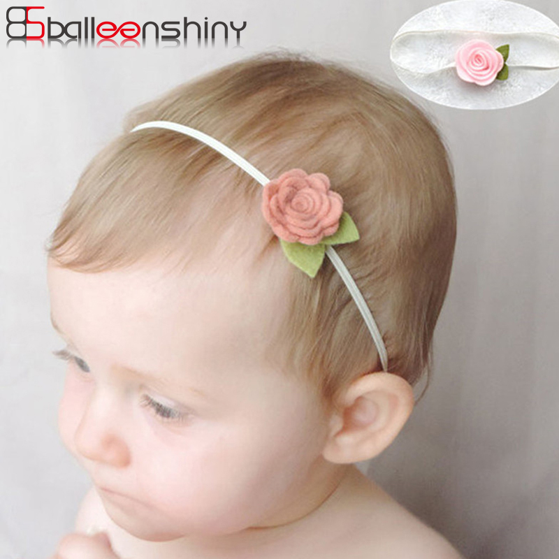 BalleenShiny Rose Flower Hair Bands Newborn Baby Elastic Photography Props Headband Lovely Headwear Fashion Hair Accessories