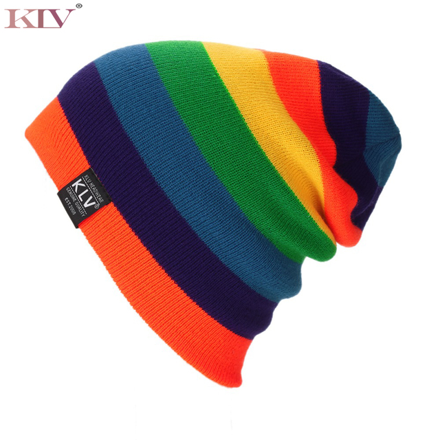 New Winter Hat Men Women Beanies Striped Rainbow Colors Hat Cotton Knitted  Hats for women Soft Casual Fashion Beanie Gorro Cap 051086db3d6