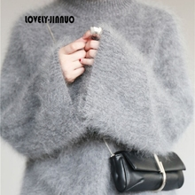 New genuine mink cashmere sweater women pullovers knitted pure mink jacket thick Coat free shipping JN386
