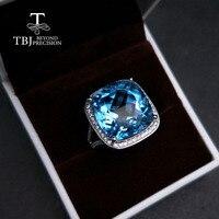 TBJ, вечерние женские мелкий драгоценный камень кольцо 26 Ct натуральный, небесно синий топаз драгоценный камень ювелирные изделия стерлингов