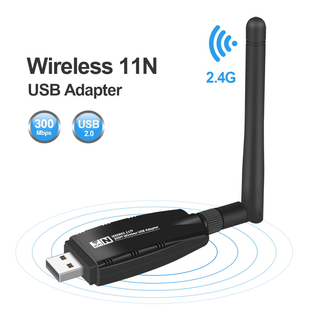 Mini USB Adaptador Wifi Antena Wi-fi Tarjeta de red Lan Tarjeta de red inalámbrica Dongle 300Mbps 20dB 802.11b / n / g Adaptador Ethernet USB