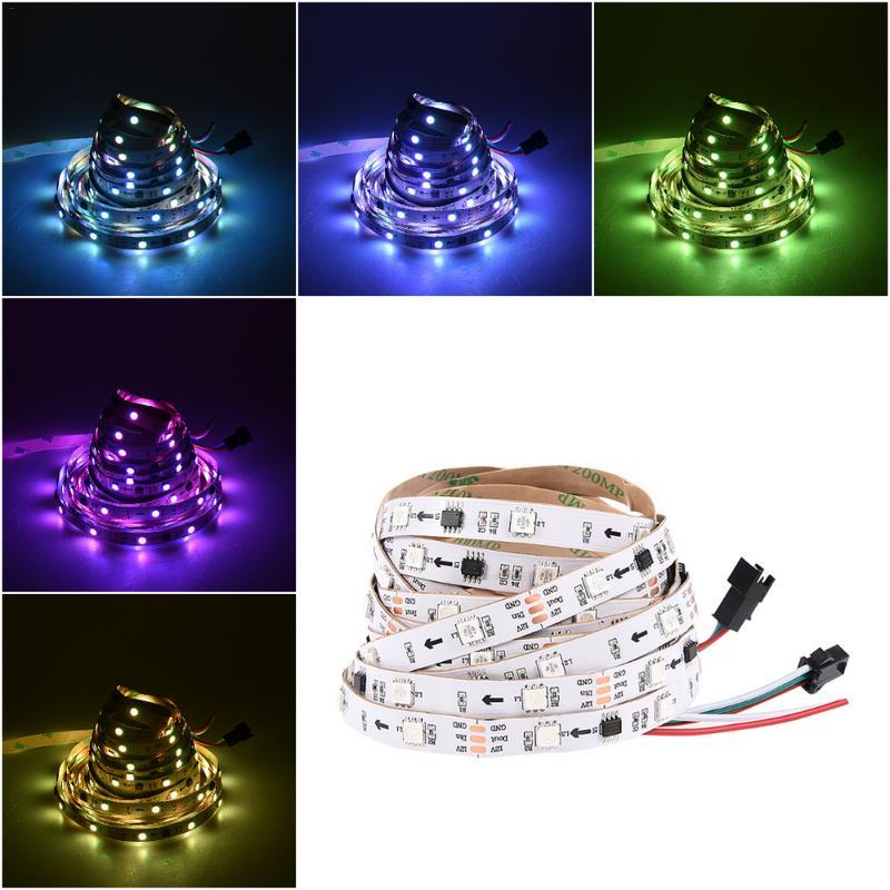 5m 30 Leds/m 2811 Pixels Programmable Individual Addressable Led Strip Light Remote Control Ws2811 5050 Rgb 12v Led Tape Lamp Factories And Mines Led Strips Led Lighting