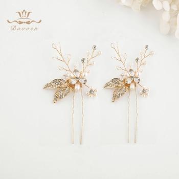 Bavoen 2 fotos/lote de accesorios para el cabello de boda hechos a mano de cristal, horquillas de pelo de oro, horquillas de perlas europeas, diademas de hojas