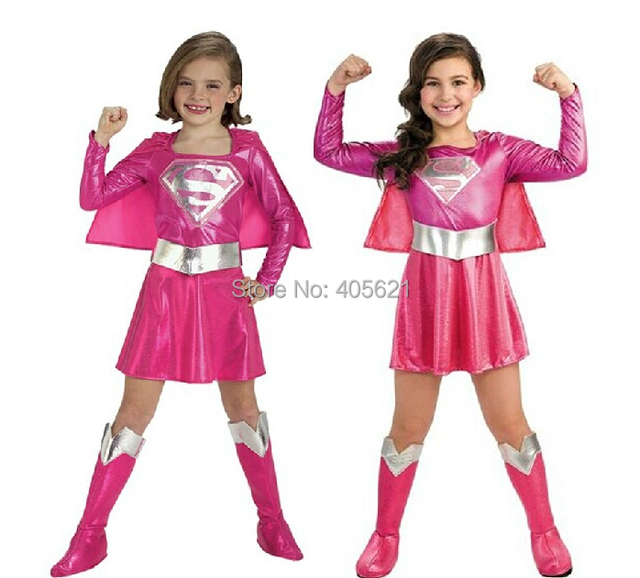 girls superwoman role pink skirts superhero halloween christmas makeup cosplay characters dress costume clothes
