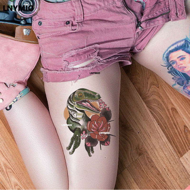 17 Lnymio temporary tattoo pretty flower large size pink and blue body art tattoo sticker 8