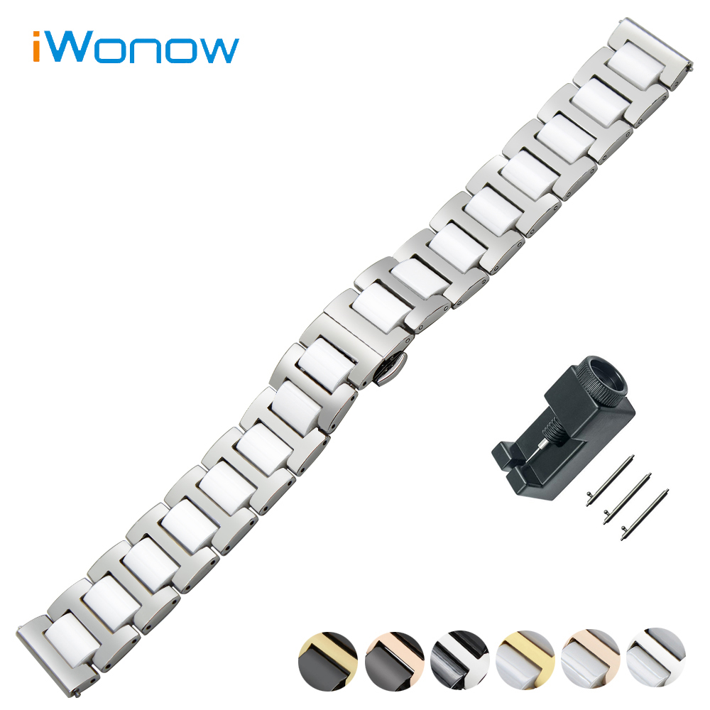Ceramic + Stainless Steel Watch Band 18mm 20mm 22mm for Baume & Mercier Quick Release Strap Butterfly Buckle Wrist Belt Bracelet 18mm 20mm 22mm quick release watch band butterfly buckle strap for tissot t035 prc 200 t055 t097 genuine leather wrist bracelet