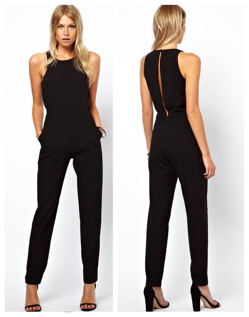 2016 women simple style black jumpsuits rompers womens  back keyhole plus size fashion brief women clothing long pants jumpsuit