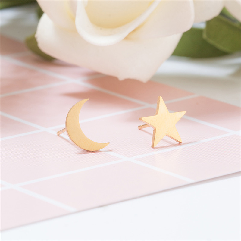 Charm Stainless Steel Women's Earrings Golden Silver Plated Stars And The Moon Style Earrings For Women Trendy Fashion Earring