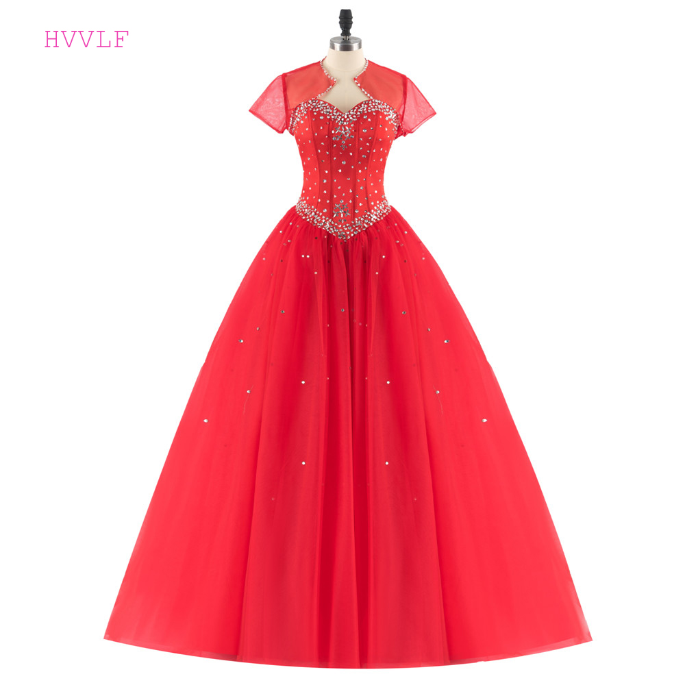 Red 2019 Cheap Quinceanera Dresses Ball Gown Sweetheart Floor Length Tulle Beaded Crystals With Jacket Sweet 16 Dresses